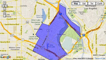 Approximate boundaries of area that would be covered by proposed gang injunction.