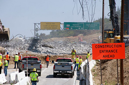 Rubble on the 405 freeway being cleaned up during Carmageddon I in July, 2011. Photo by Gary Leonard for Metro.
