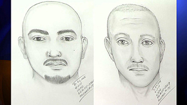 Sketches of two suspects being sought in the Dodger Stadium attack. Credit: Los Angeles Police Department