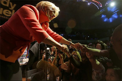 L.A. mayoral candidate Wendy Greuel greets supporters during an election night gathering at the old Pacific Stock Exchange in downtown Los Angeles. (Luis Sinco / Los Angeles Times /May 21, 2013)