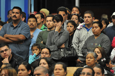A standing-room-only crowd of parents and community leaders met at Hawaiian Avenue Elementary in Wilmington Thursday night to discuss recent murders and how to make the city safer. (Robert Casillas / Staff Photographer)
