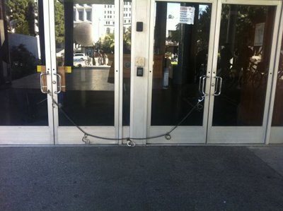 Locked doors of Parker Center on Tuesday. Credit: Richard Winton / L.A. Times