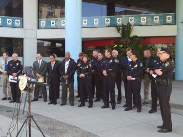 San Diego police officials on Sunday. Credit: Fox 5 San Diego