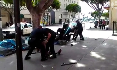 A still from the video that appears to show a man being shot by police in Los Angeles. Photograph: Facebook