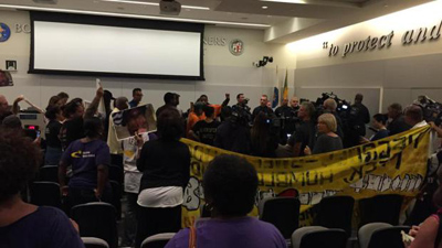 Two consecutive meetings of the Police Commission have been halted in recent weeks due to protests. (credit: Ed Mertz)