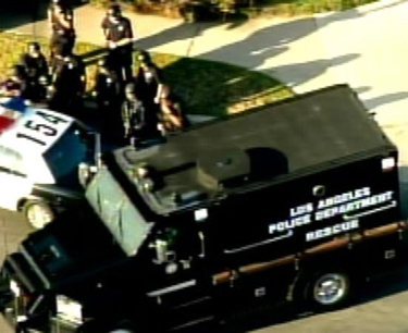 A special LAPD police vehicle transported neighbors to safety.