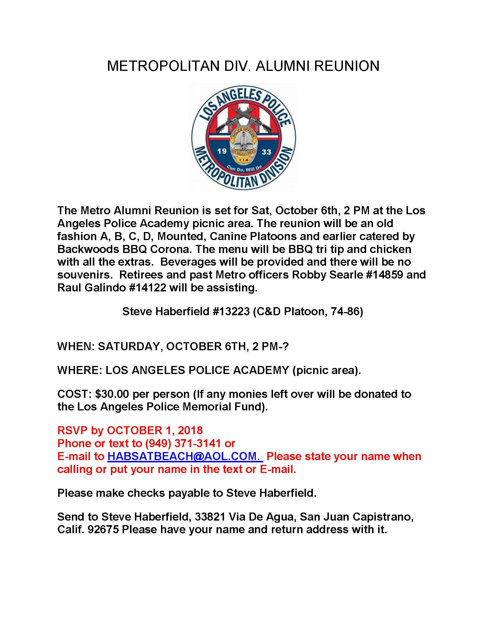 Metropolitan Division Alumni Reunion   LAPPL - Los Angeles Police